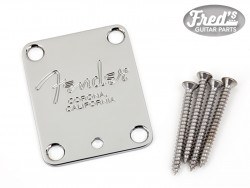 4-Bolt American Series Guitar Neck Plate with Fender® Corona Stamp (Chrome)
